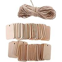 MagiDeal 50 piezas de madera rectangular forma de etiqueta adorno para manualidades con cuerda