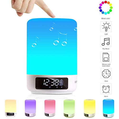 Keynice Multicolor Lampe de Chevet tactile Portable Sans Fil Bluetooth Haut-Parleur carte Micro SD Soutenue Compatible avec iPhone iPad Android Smartphones Horloge réveil avec affichage à LED-Blanc