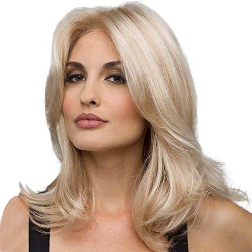 ☀JiaMeng Damen Blond Perücken Bob Mittellange Natürlich Seidige Glatte Echthaar Perücke Kopfumfang Verstellbar
