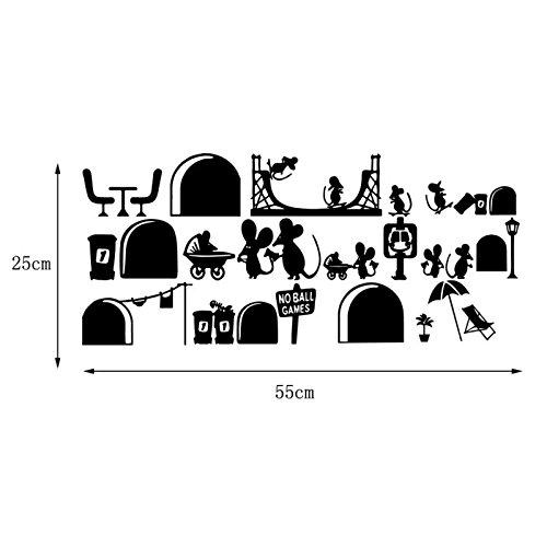 Dosige 1 Pcs de moda impermeable extraíble lindo ratón pegatinas de pared decoración de escaleras Pegatinas de pared decorativas Etiquetas de La Pared Papel pintado de habitación de niños Negro 55*25cm