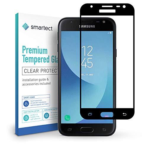 smartect Panzerglas für Samsung Galaxy J3 2017 [Full Screen] - Displayschutz mit 9H Härte - Panzerglas bedeckt ganzes Display komplett Full Cover
