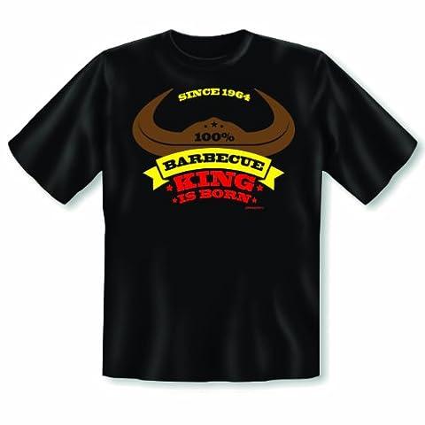 Originelles Fun Shirt! Geschenk zum 50. Geburtstag! King of Barbecue 1964 T-Shirt! Der Grillkönig ist geboren! Gr: XL Farbe: schwarz