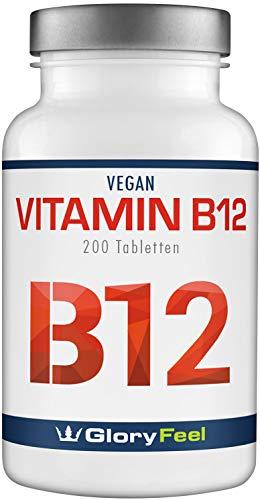 GloryFeel® Vitamin B12 1000µg - VERGLEICHSSIEGER 2019* - 200 Vegane Lutschtabletten - B12 trägt zur Verringerung von Müdigkeit bei - Laborgeprüft ohne unerwünschte Zusätze hergestellt in Deutschland