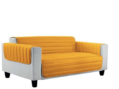 Italian Bed Linen Elegant Copri Divano Trapuntato in Microfibra Anallergica, Doubleface, Arancio/Giallo, Matrimoniale, 2 Posti