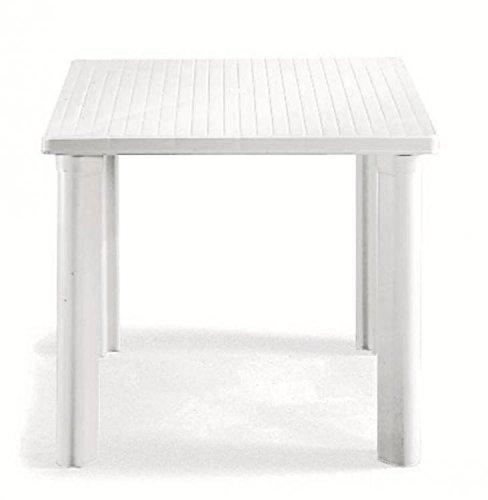 Ideapiu Table carré pour extérieur, Table résine 80 x 80, Table pour Jardin démontable, Table Jardin Blanc