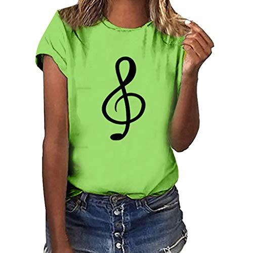 Jurtee magliette donna manica corta eleganti t-shirt donna divertenti immagini stampa simbolo musicale casual maglie blusa slim fit camicetta elegante girocollo maglietta varie colorazioni e taglie