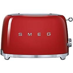 SMEG Tostador, 950 W, Acero Inoxidable, 2 Ranuras, Rojo