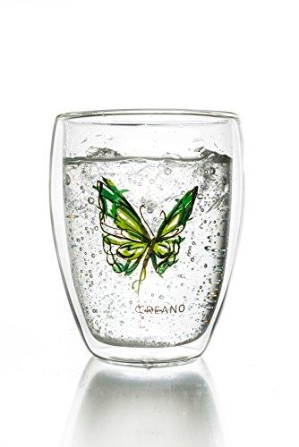 Creano Tasse de thé à double paroi ''Colourfly, Latte Macchiato, verre isotherme avec papillon, 250ml, couleur vert