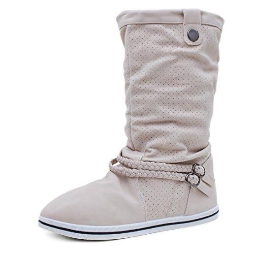 Marimo Damen Schlupf Stiefel Stiefeletten Biker Boots in Lederoptik warm gefüttert Beige 37 (Timberland Fake Boots Für Frauen)
