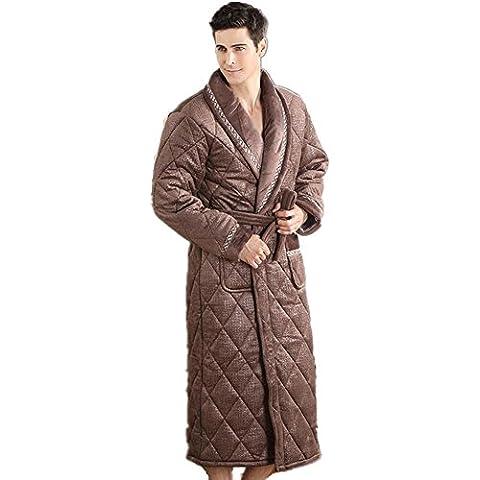 DMMSS Inverno in laminato cotone camicia da notte ispessimento lungo accappatoio Coral velluto Pigiami uomo , l - Terry Bambino Bambola