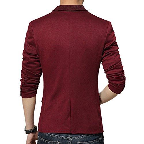 MRSMR Hommes La Redingote Décontraction Mariage Animateur Un Bouton Casual Blazer Veston Costume Rouge