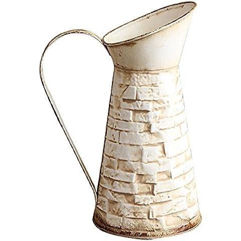 VANCORE Caraffa in metallo vernice muro di mattoni stile fiori brocca vaso Big mouth-white
