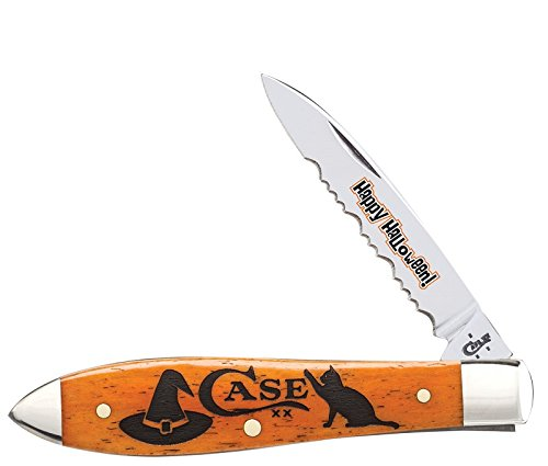 Case XX 2017 Happy Halloween Persimmon Orange Bone Drop Gent Stainless Pocket Knife Knives