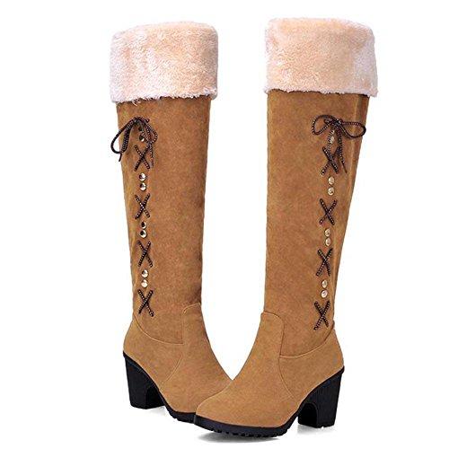 Donna Scarponi da neve il nuovo, Suola in gomma slittata indossare impermeabile, Assorbimento degli urti, Set di piedi caldo Scarponi da neve yellow