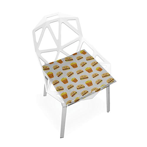 Enhusk Hamburger Cartoon Nette Dekor Benutzerdefinierte Weiche Rutschfeste Quadratische Memory Foam Chair Pads Kissen Sitz Für Home Kitchen Esszimmer Büro Schreibtisch Möbel Indoor 16x16 Zoll - Französisch Quadratische Kissen