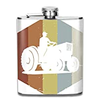 iuitt7rtree Retro Vintage Farmer Tractor Icon Pocket Leak Proof Liquor Hip Flask Alcohol Flagon 304 Stainless Steel 7OZ Gift Box Outdoor