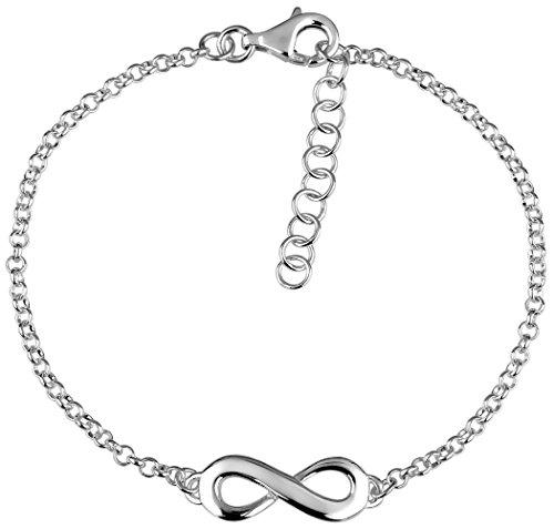 Nenalina Damen Armband 925 Sterling Silber, Unendlichkeitszeichen Infinity für Immer Armbänder für Frauen, Armkettchen Länge 18 cm + 3 cm Verlängerung, 331096-000