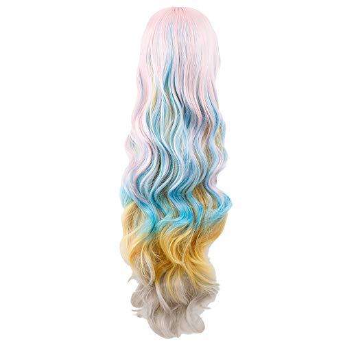 (Luckhome Langes Gewelltes Kunsthaar Perücken Sexy Volle Pony Perücke Muticolor Lockige Perrücke Wig Haare Wigs Europa Und Amerika Weiblich Mehrfarbiges Lockiges Haar Persönlichkeit (D))