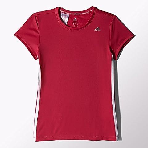adidas Mädchen T-Shirt Clima, Vivid Berry S14/White/Silver Met., 128, S20235