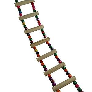 Jouet Escalier Échelle pour Perroquet et Oiseaux - BADALINK Support Bite Étagère Longueur de 42cm