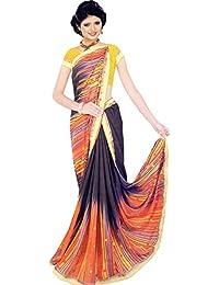 The Wardrobe Georgette Saree With Blouse Piece (Wardrobe021_Multicolor_Free Size)