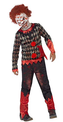 Smiffys Kinder Jungen Zombie-Clown Deluxe Kostüm, Oberteil, Hose, Maske und Haare, Größe: L, 44293 (Einfach 80's Halloween Kostüme)