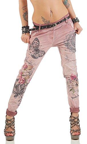 ZARMEXX Damen Boyfriend Baggy Hose mit Gürtel Jeanshose Stoffhose Jeggings Legging Skinny Chinohose Butterfly-Glitzer-Print 10912 (Capri-hosen Butterfly)