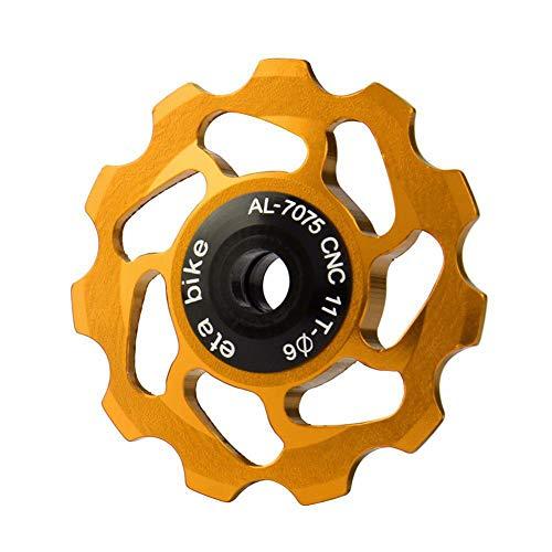 Sguan-wu Fahrrad Schaltwerk 11 Zahn Aluminiumlegierung MTB Rennrad Fahrrad Umwerfer Stützrad Riemenscheibe,Fahrradzubehör Golden