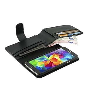 iProtect Samsung Galaxy S5 Schutzhülle Book Style Kunstleder Litschi-Optik S 5 Premium Wallet Case mit Geldbeutel schwarz