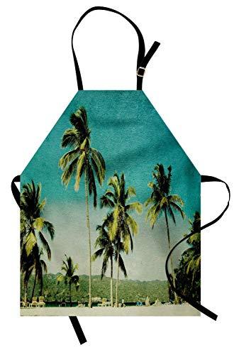 Palm-Schürze, Retro-Sommer-inspiriertes Grunge-Landschaftsbild mit hohen Bäumen und Ombre-Effekt-Himmel, Unisex-Küchenschürze mit verstellbarem Hals für das Kochen von Backen-Gartenarbeit, ()