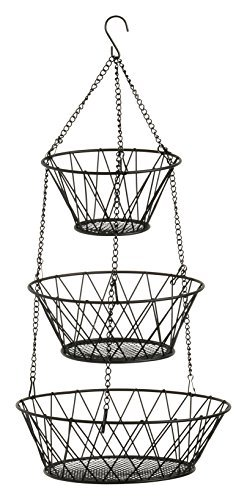Blue Donuts 3-Tier (Black) Round Iron Hanging Basket - 25in Long / Powder coated in Black