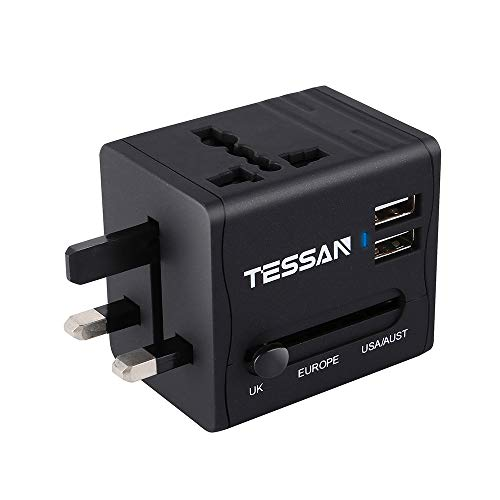 Stromadapter Reiseadapter Reisestecker weltweit Travel Adapter Reise Steckdosenadapter Stromadapter mit 2 USB für 224 Ländern USA/Australien/EU/England/China/Italien/Irland/Thailand/Kanada/UK/Japan (Italien-power Adapter Usb)