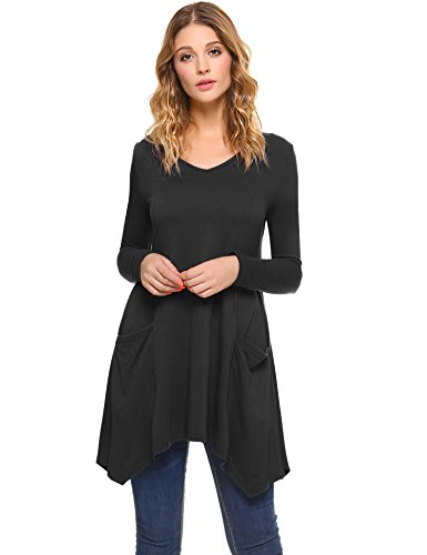 iClosam Women V-Neck Long Sleeve Asymmetric Hem Tunic Irregular Top Flowy Flare T-Shirt With Pockets