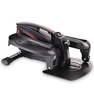 FITODO Mini Ellipsentrainer Elliptischer Stepper Crosstrainer Unter Schreibtisch Zyklus Widerstand Einstellbar mit LCD-Monitor