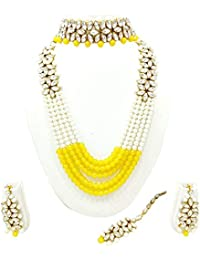 Catalyst Traditional Stone N Pearl Long Necklace Set With Earrings For Women - B07F6JFGF5