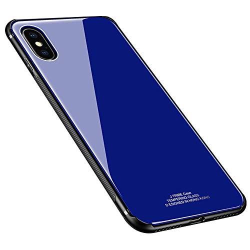 Ysimee Coque Compatible avec iPhone XS Max, Dur PC Hard Case Ultra Mince Étui Housse pour iPhone XS Max Couverture Arrière en Verre Trempé Rigide + Silicone Noir Absorption de Choc TPU Bumper, Bleu