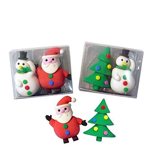 6x Radiergummi Weihnachten, Weihnachtsmann, Schneemann, Tannenbaum, Mitgebsel, Schule,...