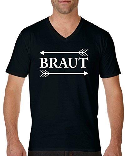 Comedy Shirts - Braut Pfeile - Herren V-Neck T-Shirt - Schwarz/Weiss Gr. XXL - Pfeil-v-neck T-shirt