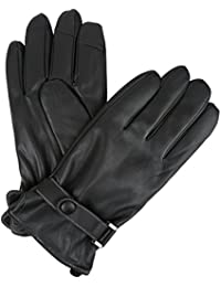 Sakkas Kaleem Adjustable Snap Touch Screen Compatible Driving Faux Leather Gloves