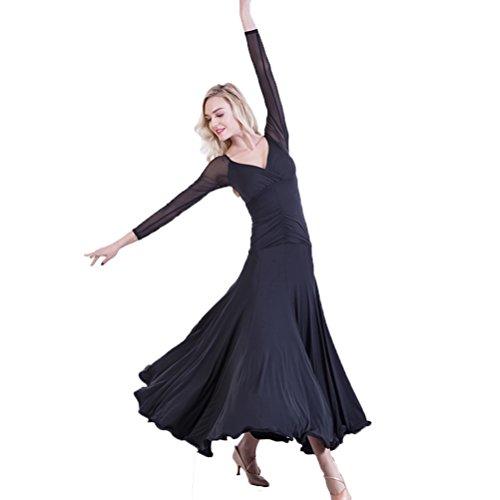 Netzhüllen Modern Ballsaal Tanzkleider Für Frauen V-Ausschnitt Einfache Selbstkultivierung Walzer Tango Übe Tanzkleidung, Black, XXXL