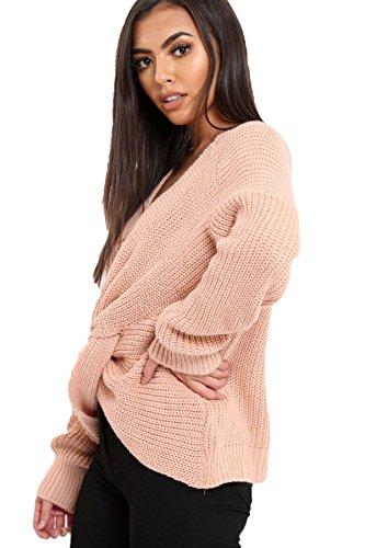 Fantasia Boutique femmes tricot épais réversible nœud enveloppant Tourbillon souple compatible avec HAUT AMPLE TRICOT Rose Cendré
