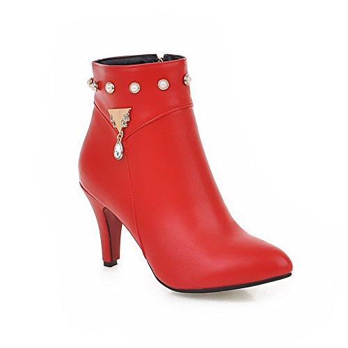AllhqFashion Damen Reißverschluss Hoher Absatz PU Leder Niedrig-Spitze Stiefel mit Juwelen, Rot, 42