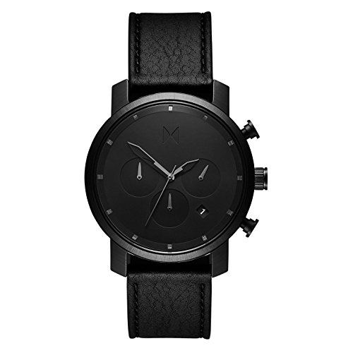 MVMT Herren Chronograph Quarz Uhr mit Leder Armband D-MC02-BLBL