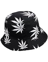 ac688aae Leisial Men's Maple Leaves Bucket Hats Cotton Hats Unisex Caps