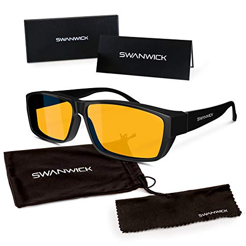 2f21378169d Swanwick Sleep Fitover Blue Light Blocking Glasses and Computer Eyewear -  Wear OVER your Prescription Glasses