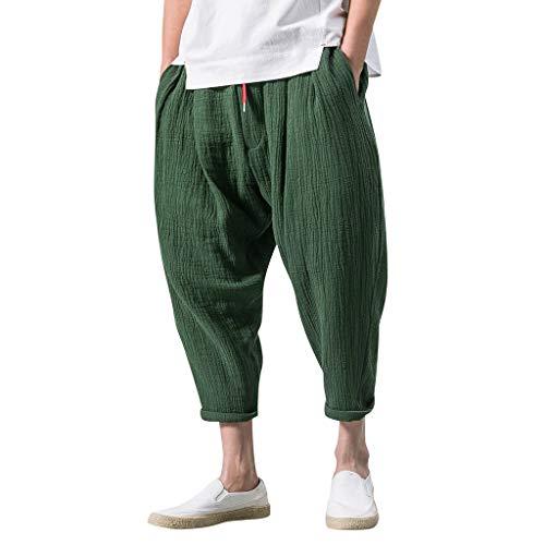 Mymyguoe Cargoshorts Herren 3/4 Cargo Hose Bermuda große Seitentaschen Bein Bandage Lose Hose Kostüme für Männer Hosen Männer Hosen Herren Streifenmuster Hose Shorts Herren [Armeegrün,XXXL]