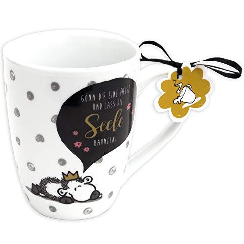 Sheepworld 59602 Lieblingstasse, Lass die Seele baumeln, Cappuchino, Geschenk-Anhänger, 30 cl Tasse, Porzellan