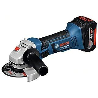 Bosch GWS 18-125 V-LI 10000RPM 18V Li-Ion schwarz, blau, Edelstahl Akku-Winkelschleiferreibe (18V, Li-Ion, 4Ah, 2,3kg)