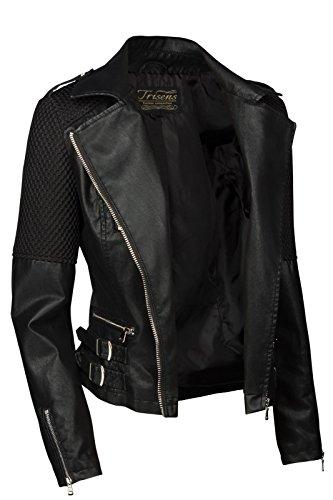 Trisens Damen Jacke Biker KURZ Motorrad Jacke Kunstleder PU, Farbe:Schwarz, Größe:S - 4