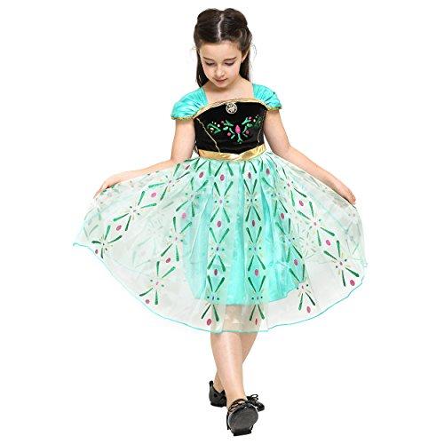 Imagen de katara 110  disfraz de la reina del hielo elsa, color verde/turquesa, talla 110/116 talla del fabricante 120  alternativa